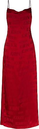 Kirin Vestido longo com estampa de logo - Vermelho