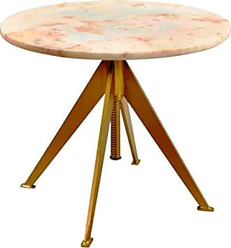 Coaster Fine Furniture Scott Living 930104 Round Adjustable Accent Table, White/Gold