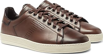 Tom Ford Burnished-leather Sneakers - Brown