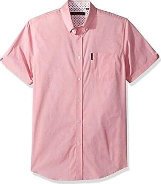 e86ec2b0fb711 Ben Sherman Mens Short Sleeve Stretch DOT Dobby Shirt, Stone Pink, Small