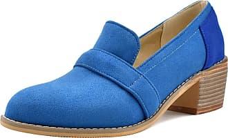 Mediffen SUCREVEN Women Casual Block Heel Oxford Shoes Slip On Mid Heel Pumps Blue Size 10.5 UK/48