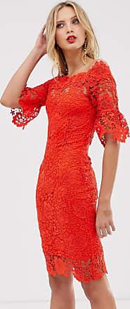 Paper Dolls Schouderloze gehaakte jurk met franje aan de mouwen-Rood