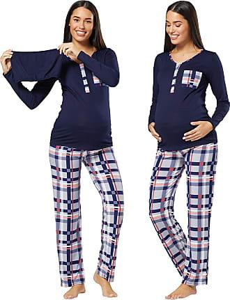 HAPPY MAMA Womens Maternity Nursing Pyjama Loungewear Set Crossover Front 1021