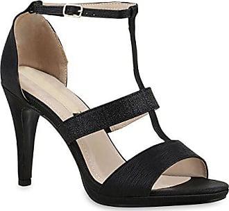 Damen Sandaletten High Heels Stiletto Schuhe Glitzer Strass