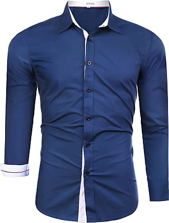 iClosam Mens Business Long Sleeve Basic Shirt Solid Color Casual Button Down Formal Tailored Fit Dress Shirt Dark Blue
