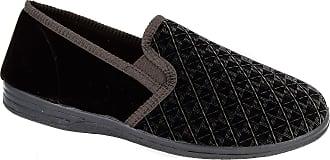 Zedzzz Mens Brown Velour Warm Comfortable Slippers Sizes 7 8 9 10 11 12 13 14 (9)