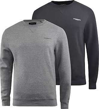 New Mens Crosshatch Top Long Sleeve Sweater Forged Iron Marl
