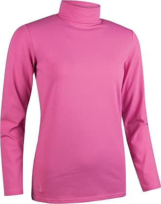Glenmuir Ladies LSC2211 Hayley Shaped Fit Long Sleeve Cotton Golf Shirt Hot Pink L