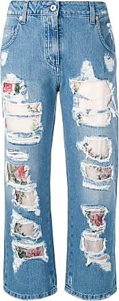 Blumarine Calça jeans cropped om detalhes puídos - Azul