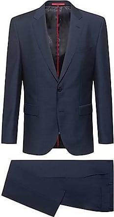 HUGO BOSS Regular-Fit Anzug aus gemusterter italienischer Schurwolle