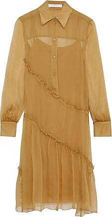 See By Chloé See By Chloé Woman Ruffled Silk-georgette Shirt Dress Mustard Size 34