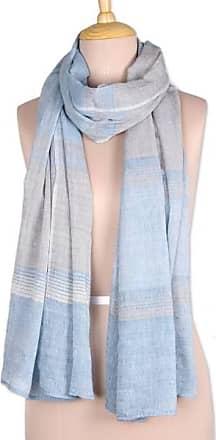 NOVICA Cotton scarf Timeless Classic