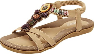 YOUJIA Womens Bohemia Breathable Wide Toe Strap Flat Sandals Apricot 7/7.5