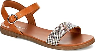 Xappeal Womens Corielle - Faux Leather Sequined Ankle Strap Sandal Shoe Brown Size: 5 UK