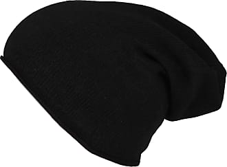 Zwillingsherz Slouch 100% Cashmere Beanie Knit hat for Girls/Boys - Beanie - Unisex - One Size fits All - Warm and Soft in Summer, Fall and Winter (Black)