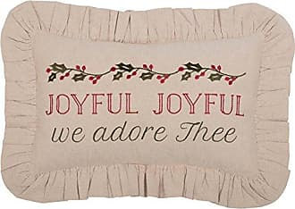 VHC Brands Farmhouse Holiday Pillows & Throws - Carol Tan Joyful 14 x 22 Pillow, Brown