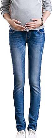 Inlefen Vintage Maternity Jeans: Over The Bump,Pregnancy Denims Look Leggings Waistband Dark Blue 2XL