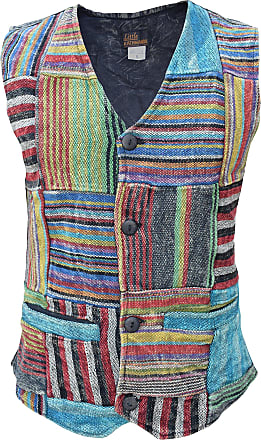 Gheri Mens Top Patchwork Striped Boho Full Button Stonewashed Waistcoat X-Large