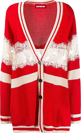 Guardaroba striped midi cardigan with lace - Vermelho