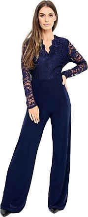 Top Fashion18 Ladies Womens Plus Size Lace Evening Party Playsuit Romper Jumpsuit Size 16-24 (Navy, UK 24)
