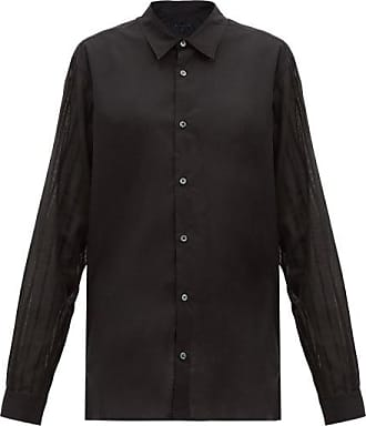 Ann Demeulemeester Sheer-sleeved Cotton-poplin Shirt - Womens - Black