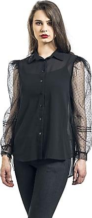 Qed London Organza Sleeves See-Through Shirt - Langarmhemd - schwarz