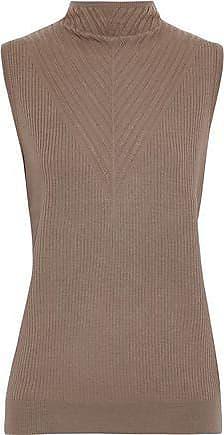 Elie Tahari Elie Tahari Woman Pointelle-trimmed Ribbed Merino Wool Top Light Brown Size L