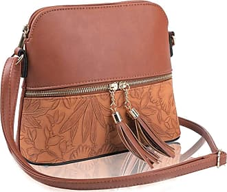 LeahWard Womens Quality Faux Leather Cross Body Bags Tassel Shoulder Bag Handbags For Holiday Party 1061 (Tan Floral)