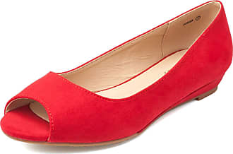 Dream Pairs Dories Womens Peep Toe Ballet Slip On Flats Shoes Red Suede Size 11 US/9 UK