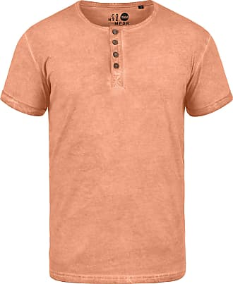 Solid Tihn Mens T-Shirt Short Sleeve Shirt Tee with Grandad Collar Made of 100% Cotton, Size:S, Colour:Mahog. Rose (4203)