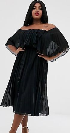 Asos Curve ASOS DESIGN Curve - Vestito midi a fascia e a pieghe con doppio strato-Nero