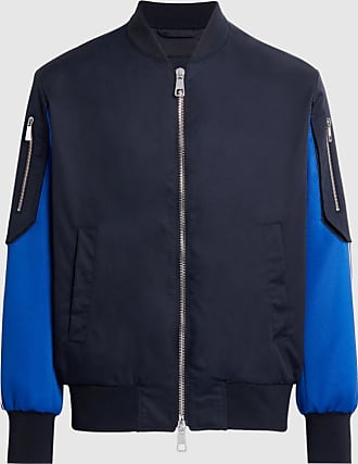Neil Barrett Hybrid Nylon Gabardine & Tecno Jersey Bomber With Track Top Sleeve