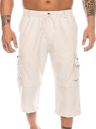 Hellomiko huateng Removable Two-wear Shorts for Men-Loose Plus Size Multi-Pockets Cropped Cargo Pants Casual Outdoor Pants Off-White
