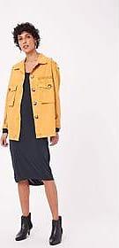 FYI Vestido Jersey Laveado Amarração Preto