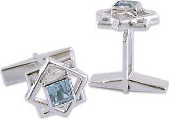 Novica Blue topaz cufflinks, Starstruck - Artisan Crafted Sterling Silver Blue Topaz Cufflinks