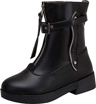 RAZAMAZA Women Casual Low Heel Short Boots Zipper Round Toe School Shoes Punk Boots Black Size 42 Asian
