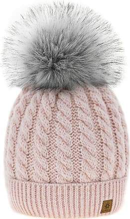 4sold Womens Ladies Beanie Hat Pom Pom Warm Winter Natural Wool Mohair Lining Full Cosy Fleece Liner (Carla Powder Pink)