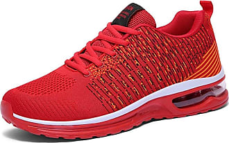 LanFengeu Men Running Shoes Mesh Breathable Lightweight Low Top Couple Trainers Outdoor Shock Absorbing Casual Walking Gym Sneakers Red