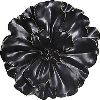 Sagebrook Home 11130 Flower Wall Plaque, Black/Gold Polyresin, 15.5 x 15.5 x 4.5 Inches
