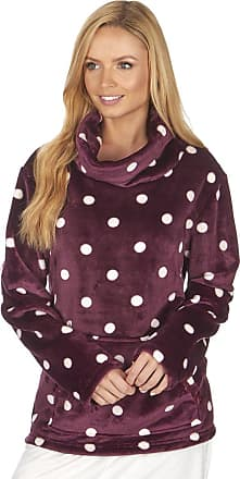 Forever Dreaming Ladies Womens Soft Polka Dot Spot Fleece Bed Jacket Housecoat Burgundy