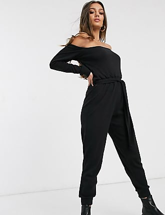 Missguided bardot jogger jumpsuit in black
