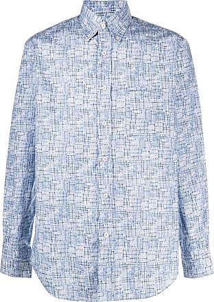 Canali Camisa de algodão com estampa abstrata - Azul