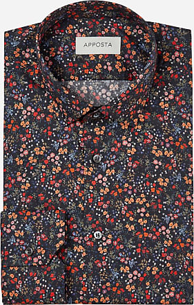 Apposta Camicia disegni a fiori multi 100% puro cotone popeline, collo stile italiano aggiornato