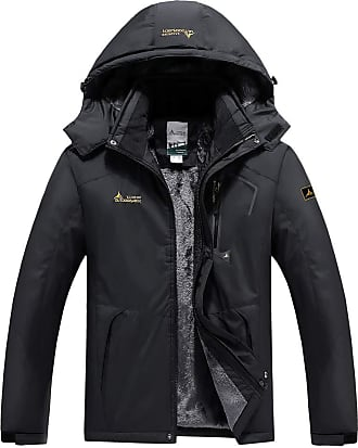QUINTRA Mens Winter Jacket Outdoor Skiing Mountaineering Warm Windproof Clothes Black
