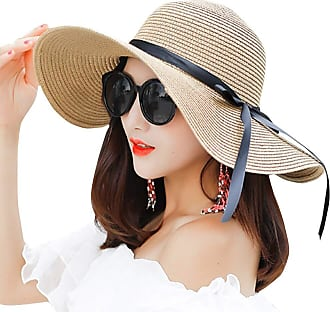 Yidarton Womens Straw Hat, Panama Straw Wide Brim Hat, Womens Sun Hats Packable Summer Sun Straw Hat Foldable Adjustable with Chin Strap