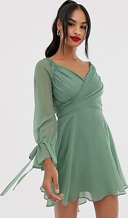 Asos Miniklänning med omlott, kjol i flera lager och spetskant-Grön