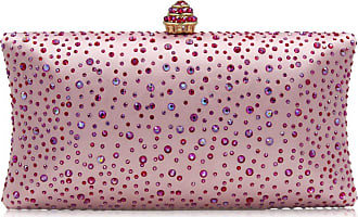 YYW Fashion Womens Glitter Clutch Bag Crystal Diamante Rhinestone Sparkly Evening Bridal Prom Party Handbag Purse (Hot pink)