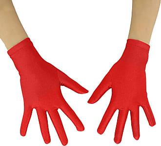 Insun Adult Lycra Spandex Full Finger Stretchy Short Gloves red