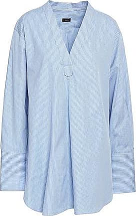 Joseph Joseph Woman Eamon Pinstriped Cotton-poplin Tunic Light Blue Size 38