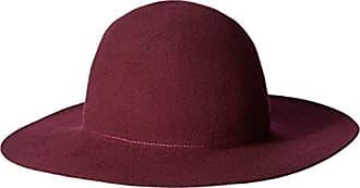 Hat Attack Womens Wool Felt Round Crown Floppy Hat, Burgundy, One Size